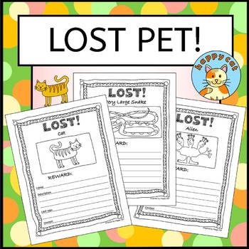 Non-fiction writing - Lost Pet Poster - fun activity