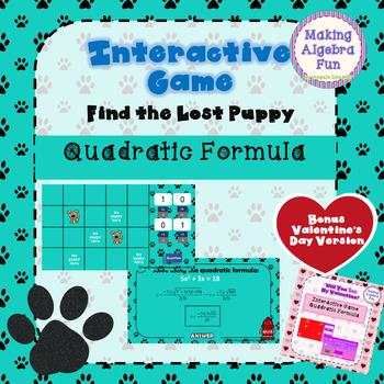 Lost Puppy Game Algebra Topic Quadratic Equations Bonus Valentine Version
