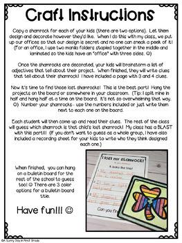 Lost Shamrock Craft & Writing!