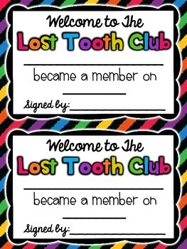 Lost Tooth Club Take-Home Bag! {Editable Pages} {Activity and Journal}