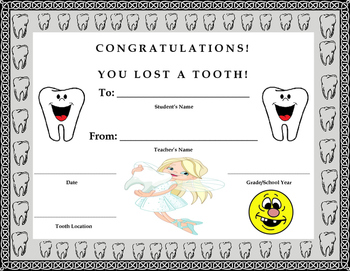 Lost Tooth Certificate- Kids Will Love It!!
