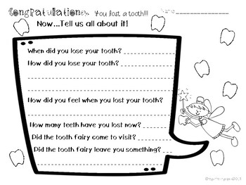 Lost Tooth Certificate and Writing Response