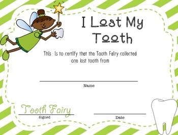 Lost Tooth Certificate from the Tooth Fairy