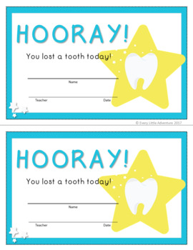 Lost Tooth Certificates - 8 Styles
