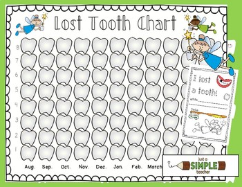 Lost Tooth Chart and Graph for the Whole School Year