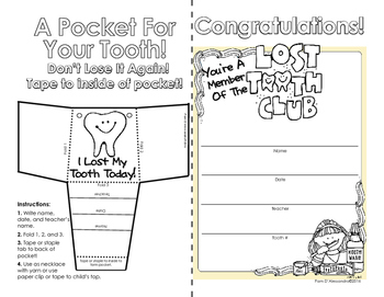 Lost Tooth Pocket and Certificate