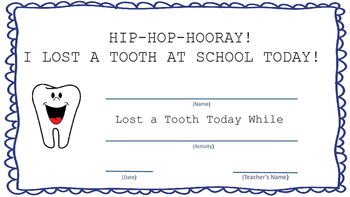 Lost a Tooth Certificate