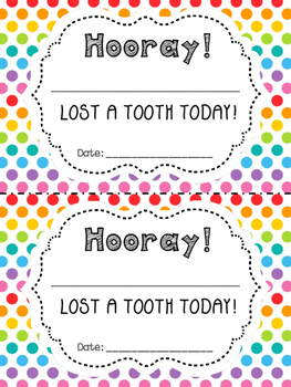 Lost a Tooth Envelope, Necklaces, and Certificates