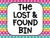 Lost and Found Bin Printable Sign