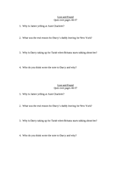 Lost and Found Quiz pages 26-57