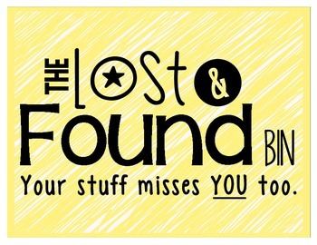 Lost and Found Sign - Colorful and Black and White Versions