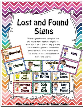 lost and found signs by lisa sadler teachers pay teachers