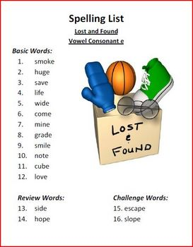 Lost and Found Spelling Activities