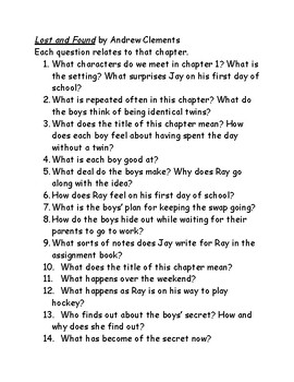 Lost and Found by Andrew Clements questions