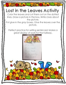 Lost in the Leaves Activity for Fall