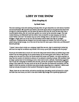 Lost in the Snow by Mark Twain