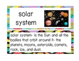 Lost in the Solar System Vocabulary Cards