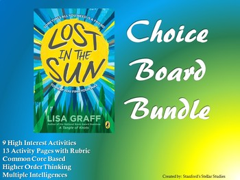 Lost in the Sun CHOICE BOARD BUNDLE 13 Activity Pages Rubric Book Menu