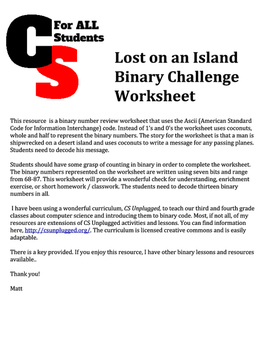 Lost on an Island Binary Challenge Worksheet