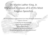 Lot of 7 Common Core Rhetorical Analyses of Speeches by Dr. Martin L. King, Jr.