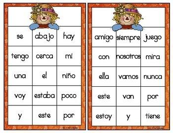 Palabras de uso frecuente juego de lotería  . Spanish High Frequency Words Game.