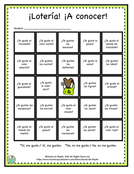 Loteria Printable Game Board featuring Gustar