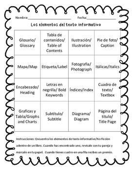 Loteria de Los elementos del texto informativo (bilingue) Bingo Game