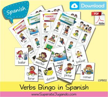 graphic about Loteria Game Printable named SPANISH Printable Verbs Bingo / Loteria de Verbos en ESPAÃ'OL para Imprimir