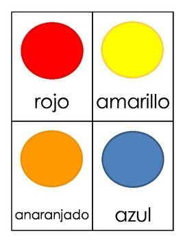 Lotería de los colores -- Colors Lotto Boards for Spanish