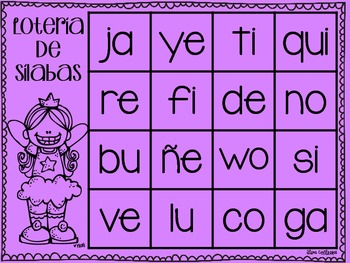 Lotería de sílabas {Syllable bingo in Spanish}