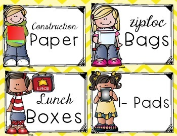 Lots Of School Supply Labels -Chevron-