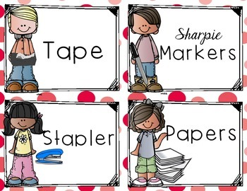 Lots Of School Supply Labels - Polka Dot -