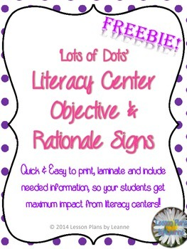 'Lots of Dots' Center Objective & Rationale Sign   **FREEBIE**