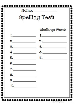 Lots of Dots Spelling Test