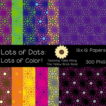 Lots of Dots with Lots of Color! Digital Background Paper 12x12 300 dpi