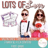 Valentines Centers First Grade: Math and ELA