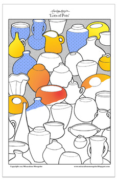 Lots of Pots - Printable Colouring Page for Adults and Children.