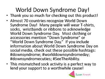 Lots of Socks Day & World Down Syndrome Day ~ March 21st!