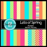 """Lots of Spring"" Digital Paper ~ Chevrons and Polka Dots"