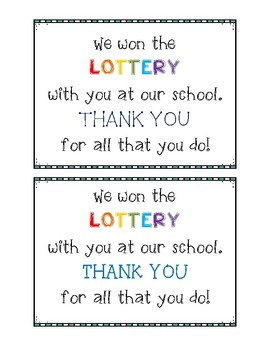 Lottery Teacher Gift Tags
