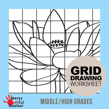 Lotus Flower Grid Drawing Worksheet for Middle/High Grades