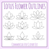 Lotus Flower Outlines Simple Color In Clip Art Set for Commercial Use