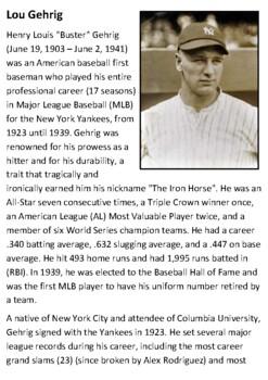 Lou Gehrig Handout