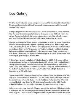 Lou Gehrig Reading Comprehension