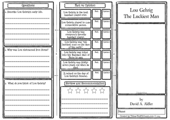 Lou Gehrig The Luckiest Man Comprehension Foldable