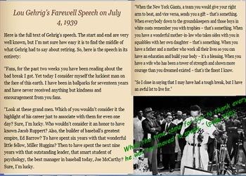 Lou Gehrig:  The Luckiest Man by David A. Adler Flipchart