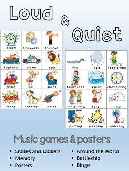 Loud & Quiet / Soft - Music opposite concept games and posters