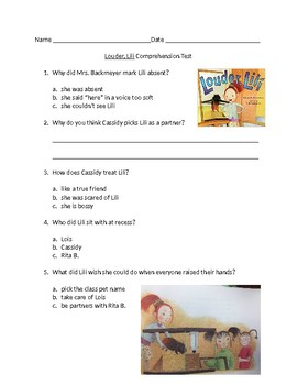 Louder, Lili comprehension quiz for 2nd graders