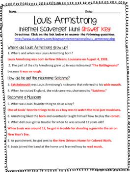 Louis Armstrong Internet Scavenger Hunt WebQuest Activity