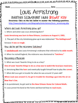 Louis Armstrong Internet Scavenger Hunt WebQuest Activity